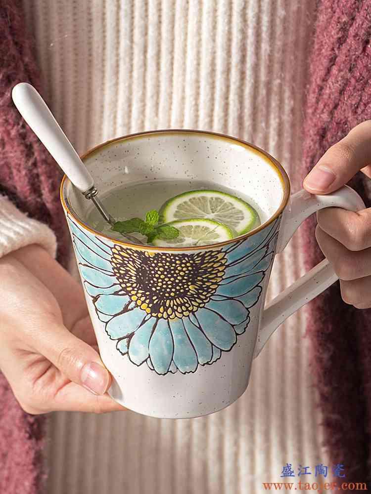 马克杯创意办公室喝水杯带勺陶瓷大容量家用情侣杯子手绘咖啡杯