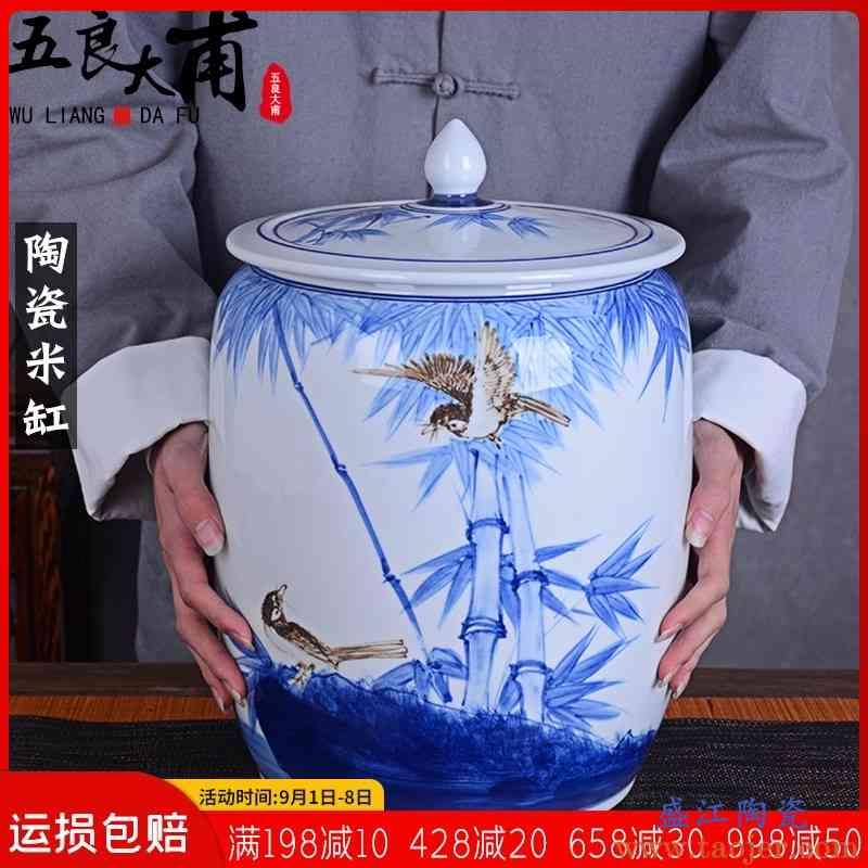 景德镇手绘陶瓷米缸带盖家用25斤装老式面粉桶防潮防虫厨房密封罐
