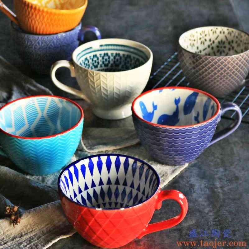瑕疵复古创意ins北欧浮雕个性陶瓷马克杯甜品麦片早餐牛奶咖啡杯