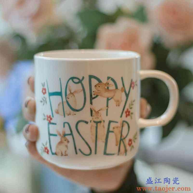 大容量骨瓷马克杯卡通早餐杯ins陶瓷水杯美式咖啡杯北欧下午茶杯