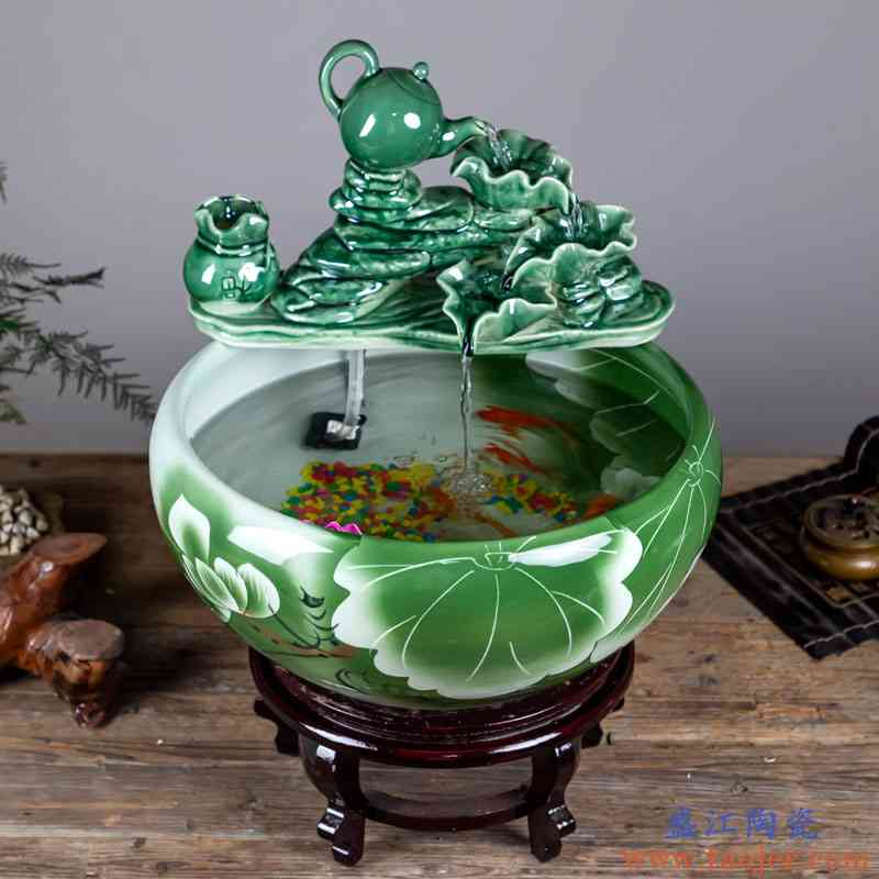 观赏陶瓷鱼缸客厅喷泉摆件桌面流水乌龟缸造景小型家用招财养鱼盆
