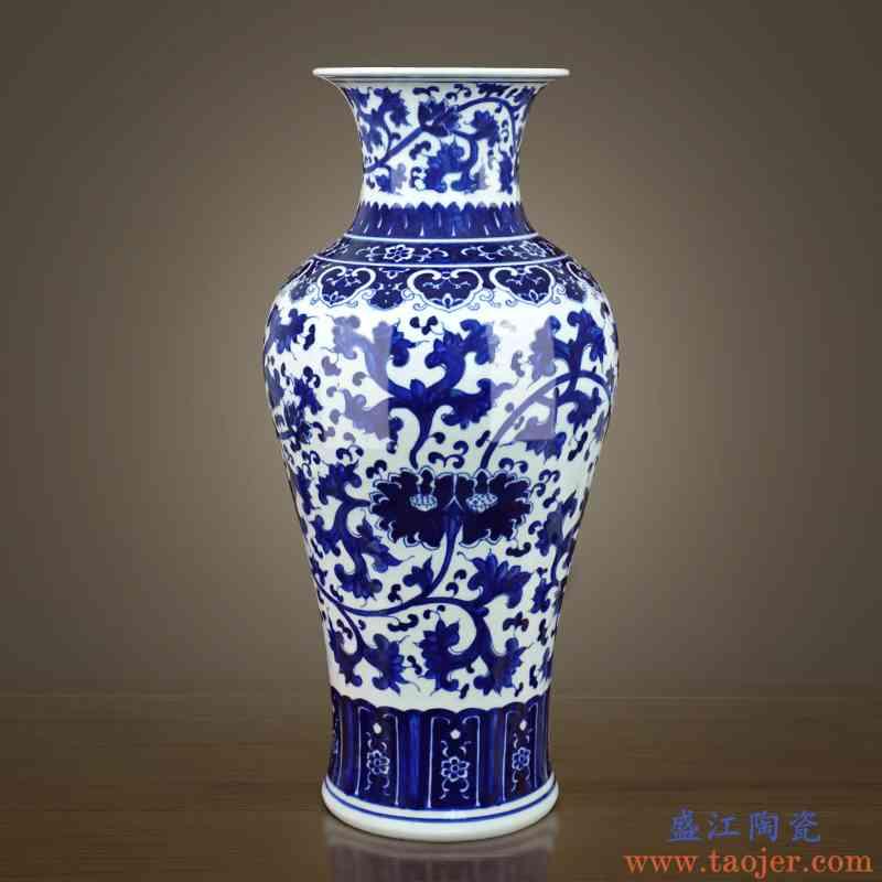 景德镇陶瓷器手绘青花瓷落地大花瓶插花摆件新中式家居玄关装饰品