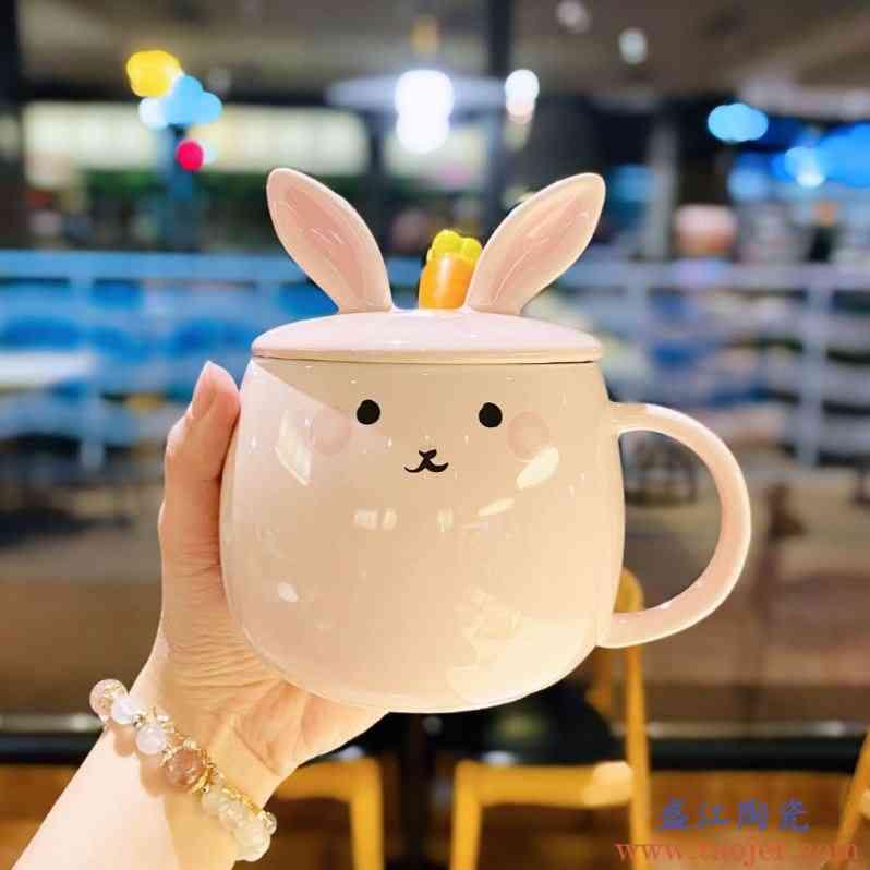 2020新款少女心粉嫩玉兔陶瓷杯子可爱萌宠治愈系水杯带盖勺马克杯