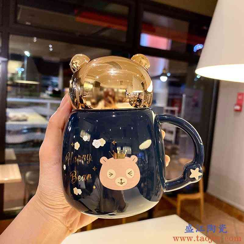 可爱少女心卡通陶瓷水杯防漏水大容量公主杯早餐牛奶咖啡杯带盖