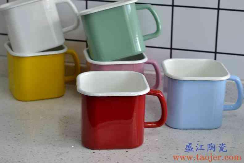 度洛奇特厚日式珐琅泡面杯方形泡面碗带盖饭盒搪瓷杯储物罐保鲜盒