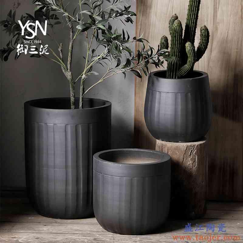 御三泥绿植盆陶瓷北欧花盆落地大花瓶现代简约风黑色庭院装饰摆件