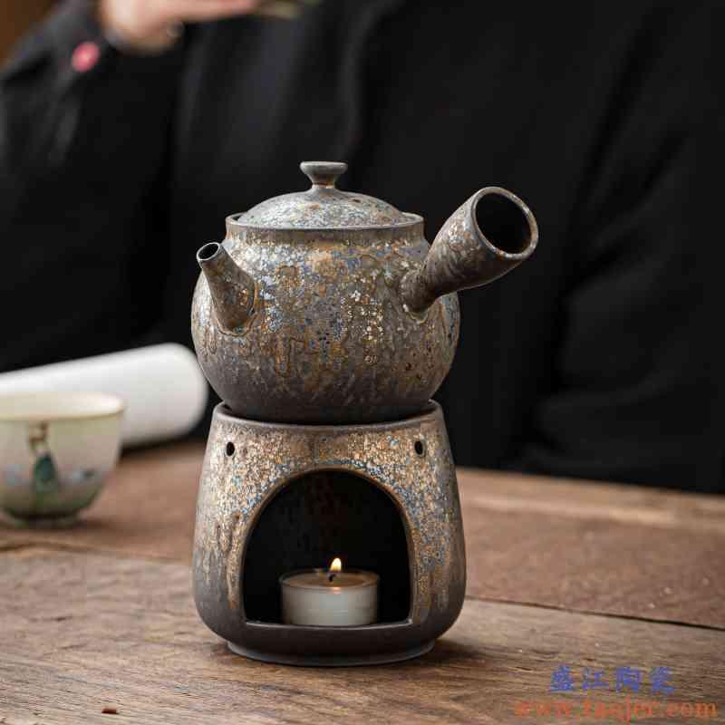日式粗陶侧把壶禅意随心泡茶壶鎏金秞恒温茶底座陶瓷家用单壶复古