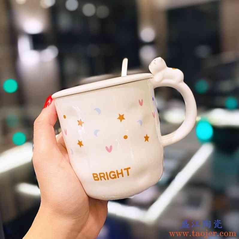 可爱超萌卡通猫咪水杯陶瓷马克杯带盖勺少女心家用早餐麦片牛奶杯