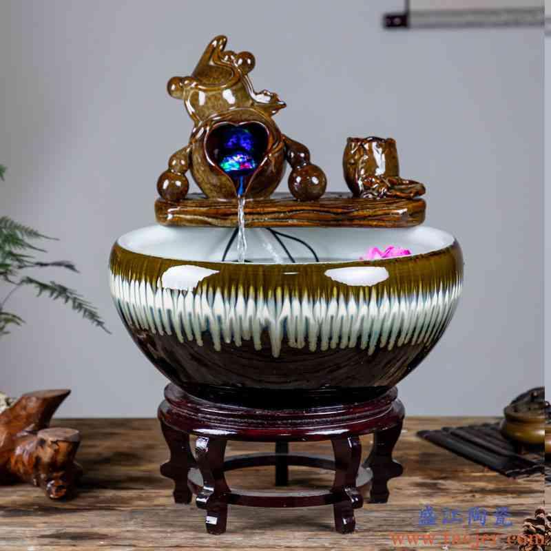 景德镇陶瓷流水鱼缸家用喷泉养鱼盆大号碗莲盆乌龟缸客厅造景摆件