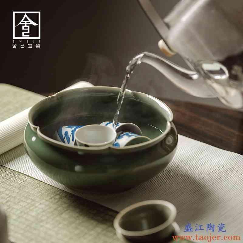 舍己宜物越窑青瓷大号茶洗杯洗功夫茶具茶道配件手工花口建水复古