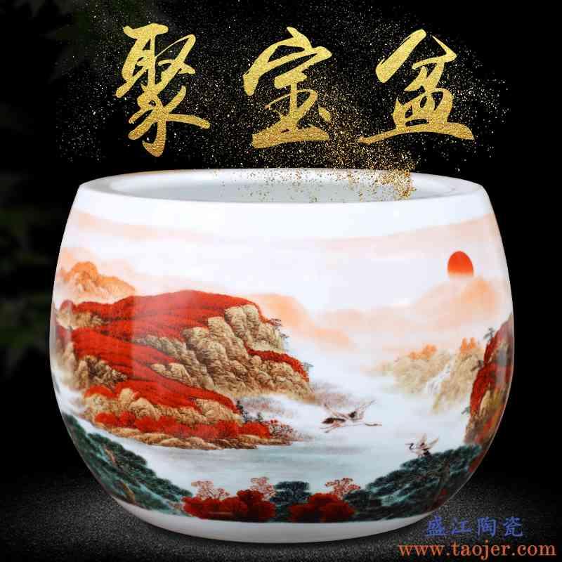鸿运当头聚宝盆收纳盒景德镇陶瓷手绘花瓶中式客厅玄关摆件招财罐