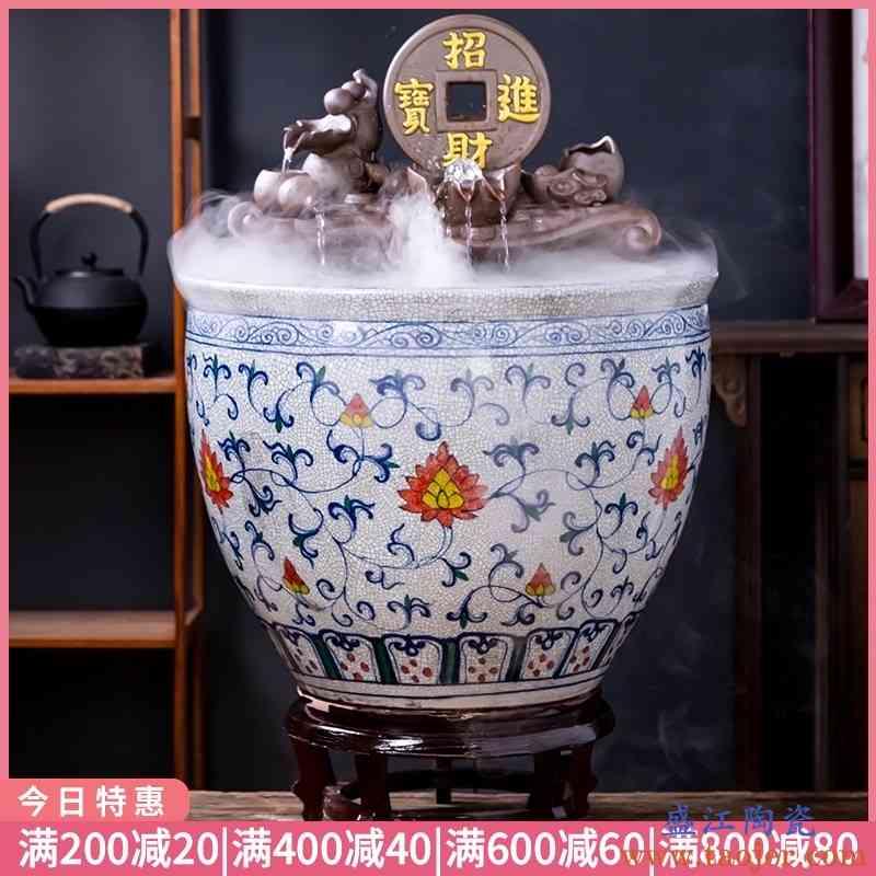 景德镇裂纹陶瓷鱼缸金鱼缸阳台办公室客厅循环流水摆件庭院大鱼缸