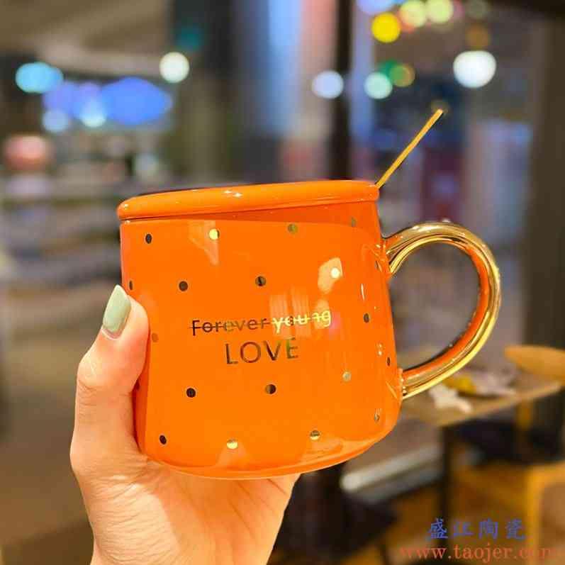 北欧轻奢陶瓷水杯时尚带盖杯子莫兰迪办公宿舍喝水杯子网红马克杯