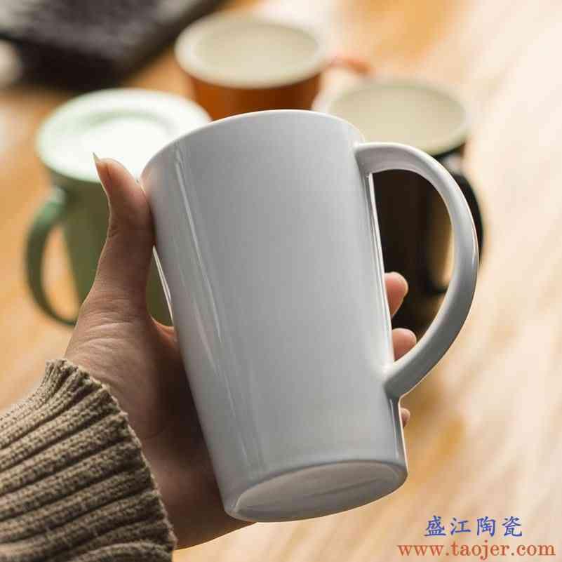 简约陶瓷杯带过滤茶隔花茶杯 办公室马克杯水杯子带盖 定制logo