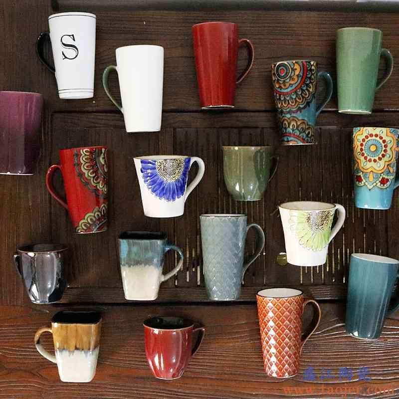 陶瓷杯子大容量水杯女男马克杯北欧ins创意个性潮流情侣喝水杯子