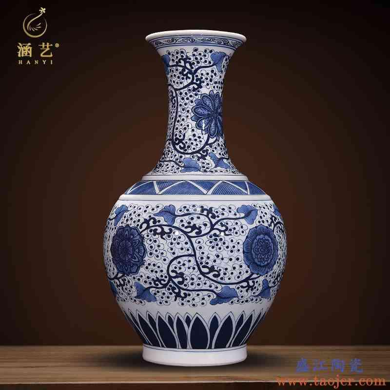 景德镇陶瓷器手绘青花瓷花瓶仿古中式客厅电视柜装饰家居礼品摆件