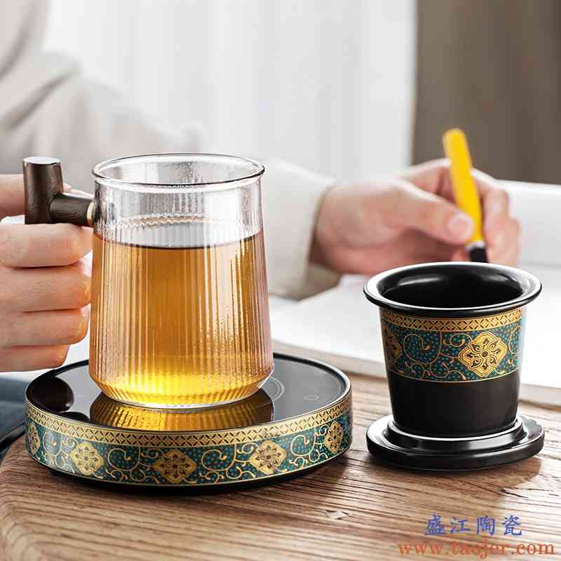 陶瓷过滤茶杯个人办公室专用杯子茶水分离泡茶水杯配恒温垫