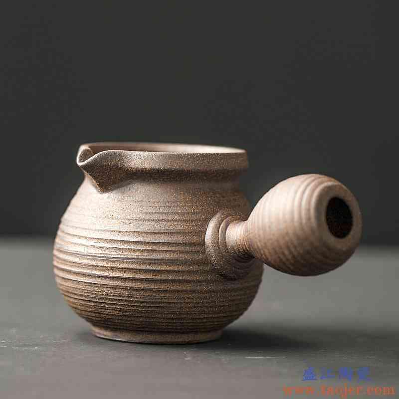 日式粗陶公道杯手作侧把分茶器禅静公杯老岩泥功夫茶具茶道均茶壶