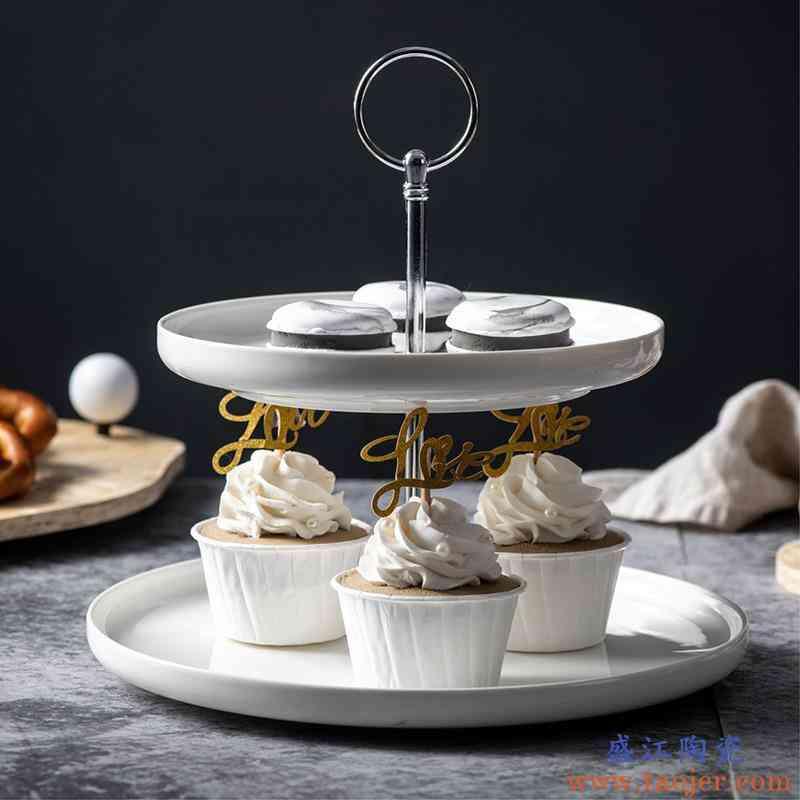 北欧风双层点心架水果盘干果陶瓷盘子白法式下午茶餐具家居多用潮