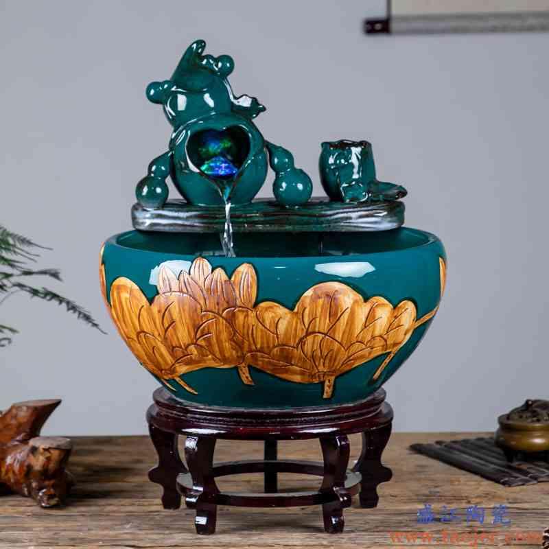 景德镇陶瓷鱼缸家用流水喷泉小金鱼缸客厅招财鱼缸造景桌面养鱼盆