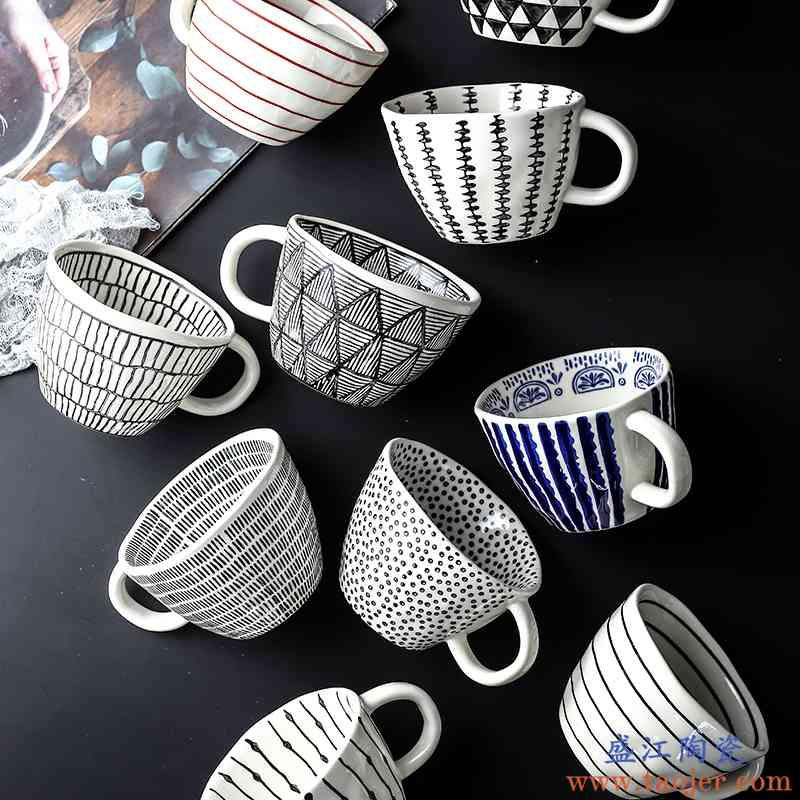 手绘陶瓷马克杯创意个性釉下彩杯子带勺情侣喝水杯家用咖啡杯送礼