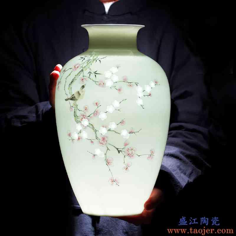 景德镇陶瓷花瓶摆件客厅插花大师手绘粉彩瓷器办公室高档家居装饰