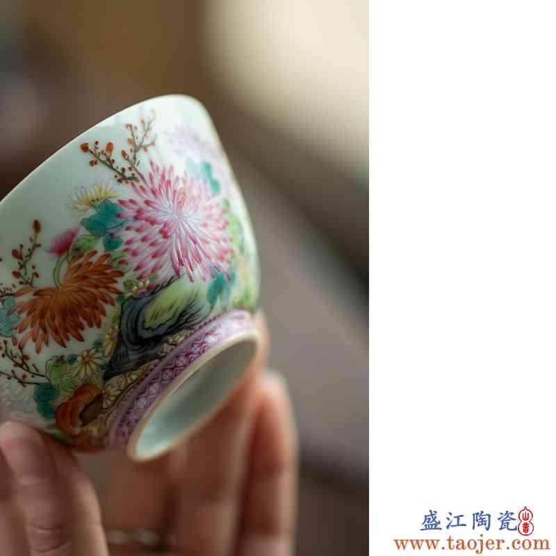 御枫堂 玛瑙红边菊花杯 景德镇纯手工陶瓷茶杯主人杯功夫茶具
