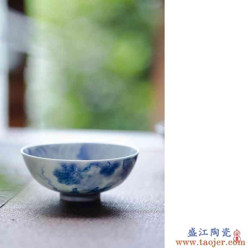 青花林隐 松鹤浅汤怀 景德镇青花手绘主人杯茶杯功夫茶具品茗杯