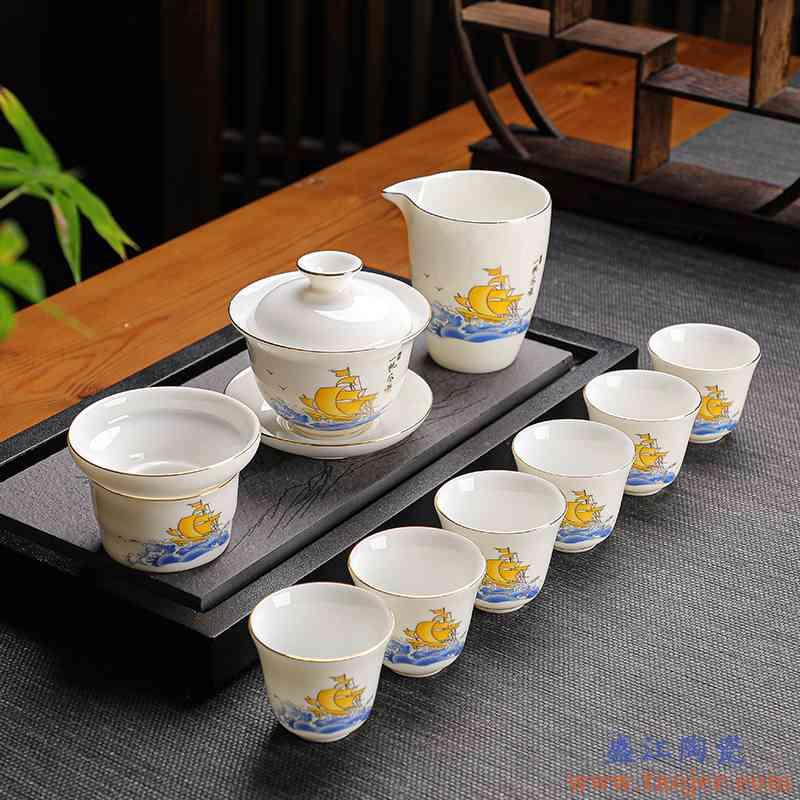 羊脂白玉瓷茶具套装陶瓷功夫茶具整套白瓷盖碗茶杯公道茶漏