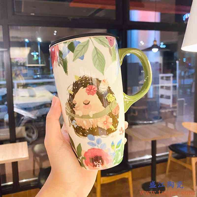 爱丽丝森林彩绘大容量陶瓷马克杯带盖卡通喝水杯子森系治愈插画