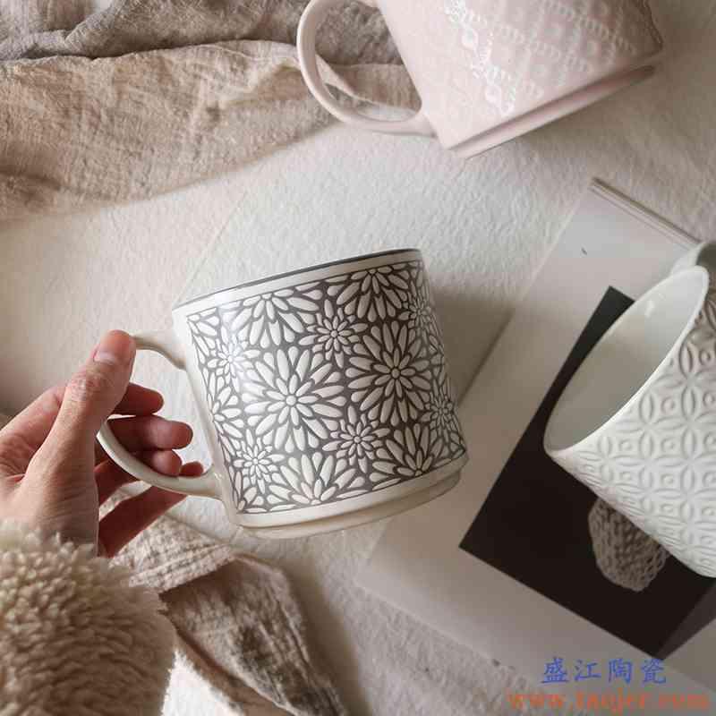 创意日式简约个性浮雕黑白几何图形陶瓷直筒马克杯子咖啡杯情侣杯