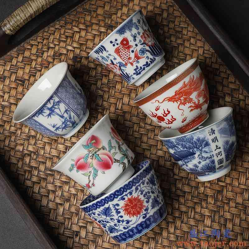 茶道杯子青花瓷茶杯茶盏主人杯单杯功夫茶碗银茶杯个人专用压手杯