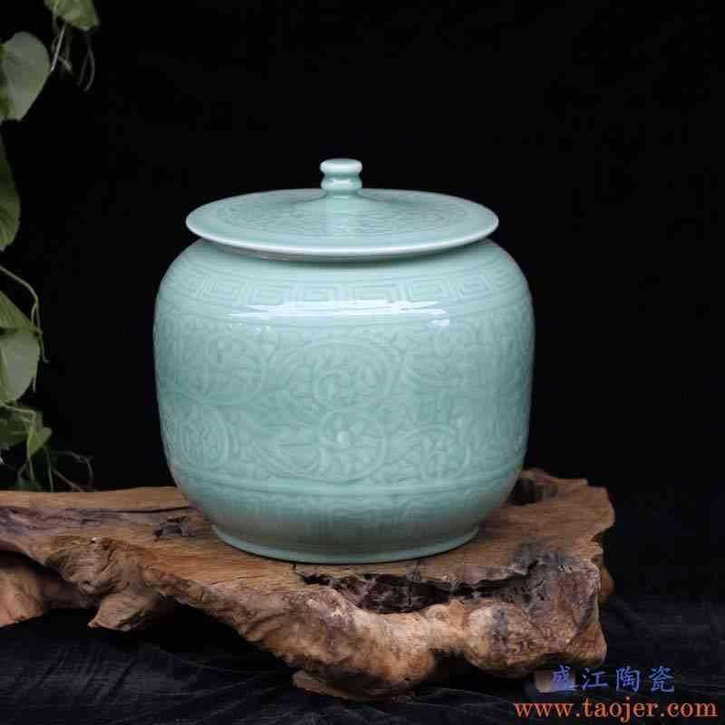 景德镇20斤 25斤 影青盖罐茶叶罐陶瓷瓷器影青米罐油罐 醒茶罐